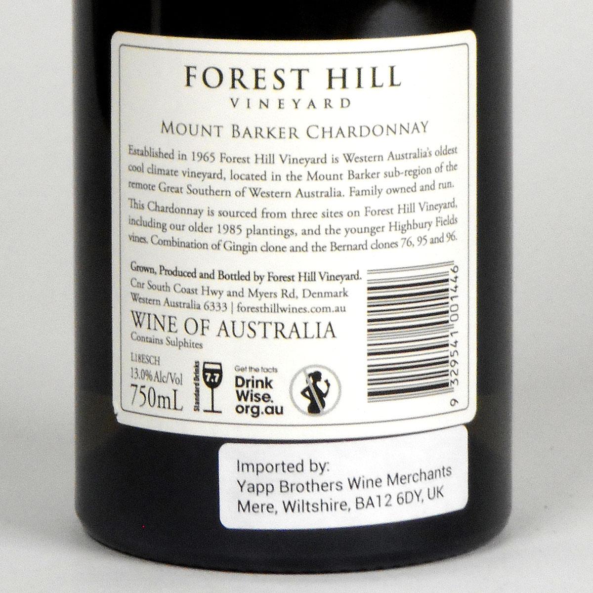Forest Hill Vineyard: 'Estate' Chardonnay 2018 - Bottle Rear Label
