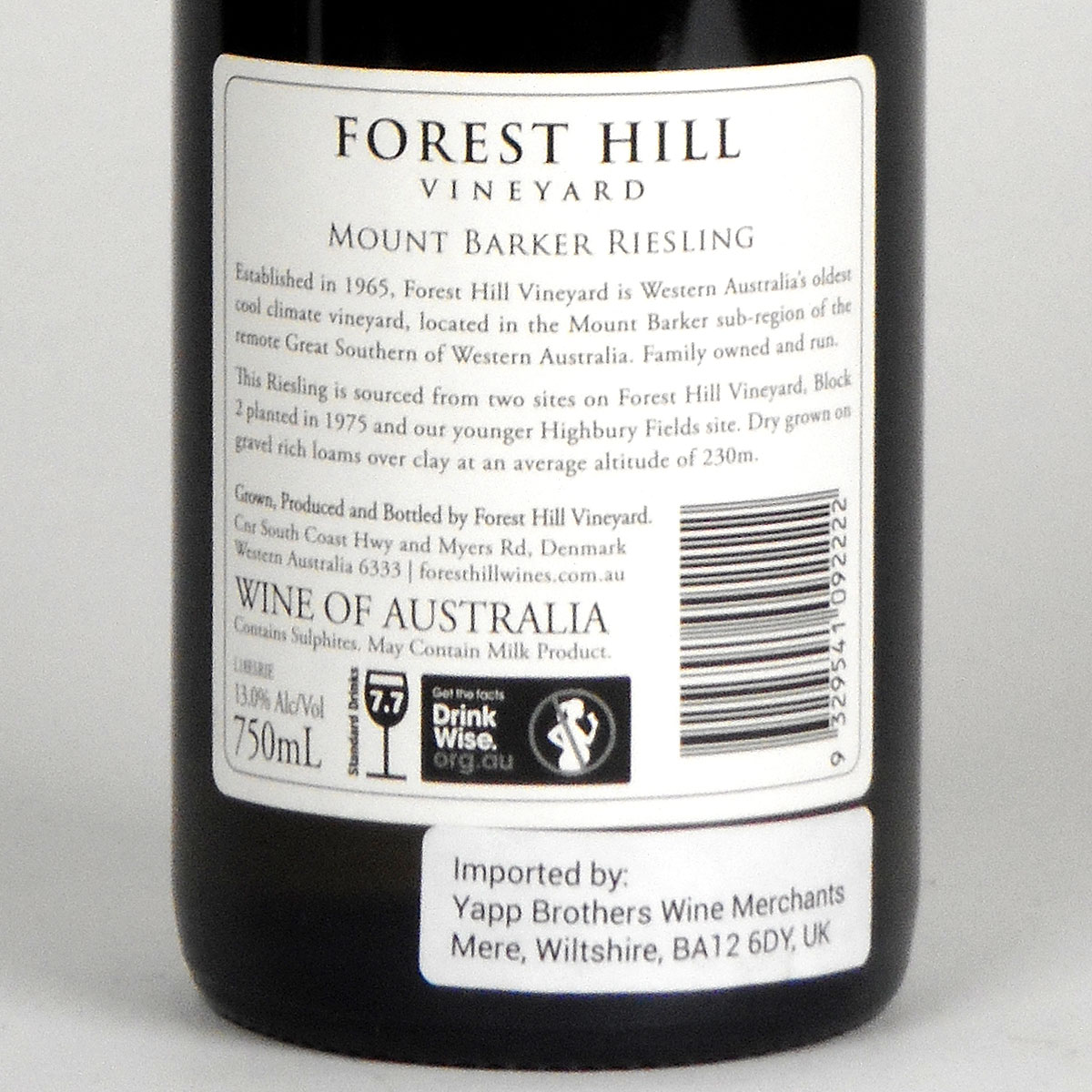 Forest Hill Vineyard: 'Estate' Riesling 2019 - Bottle Rear Label