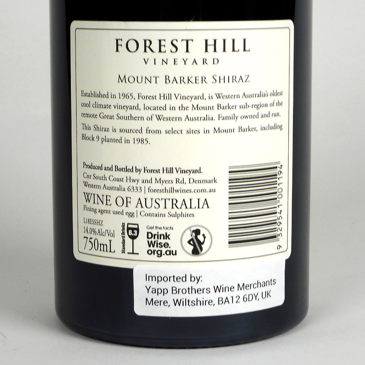 Forest Hill Vineyard: 'Estate' Shiraz 2018 - Bottle Rear Label