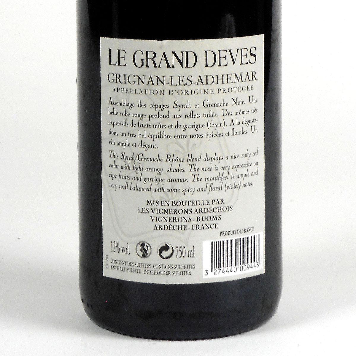 Grignan-Les-Adhémar: 'Le Grand Dèves' 2018 - Bottle Rear Label