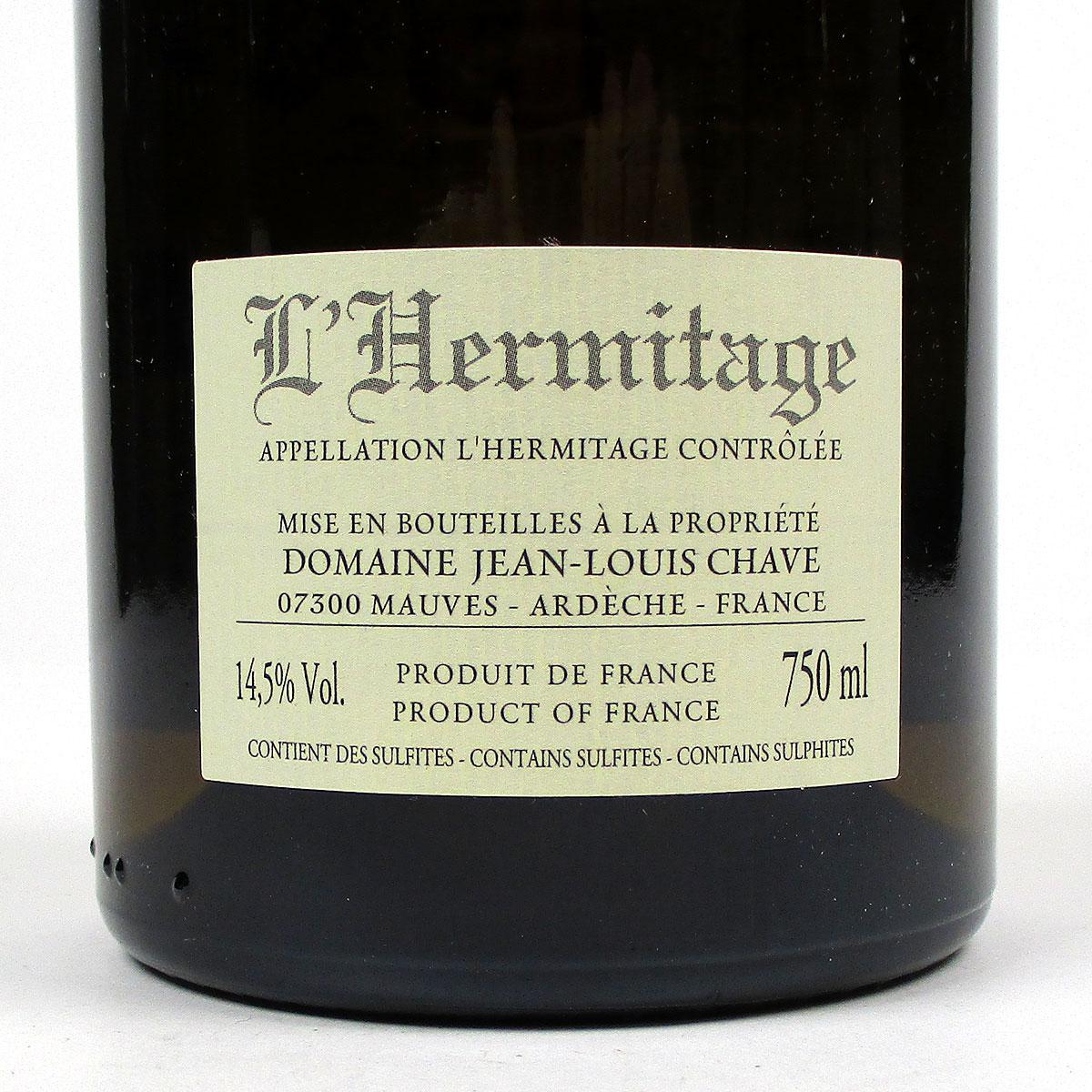 Hermitage: Jean-Louis Chave Blanc 2014 - Bottle Rear Label