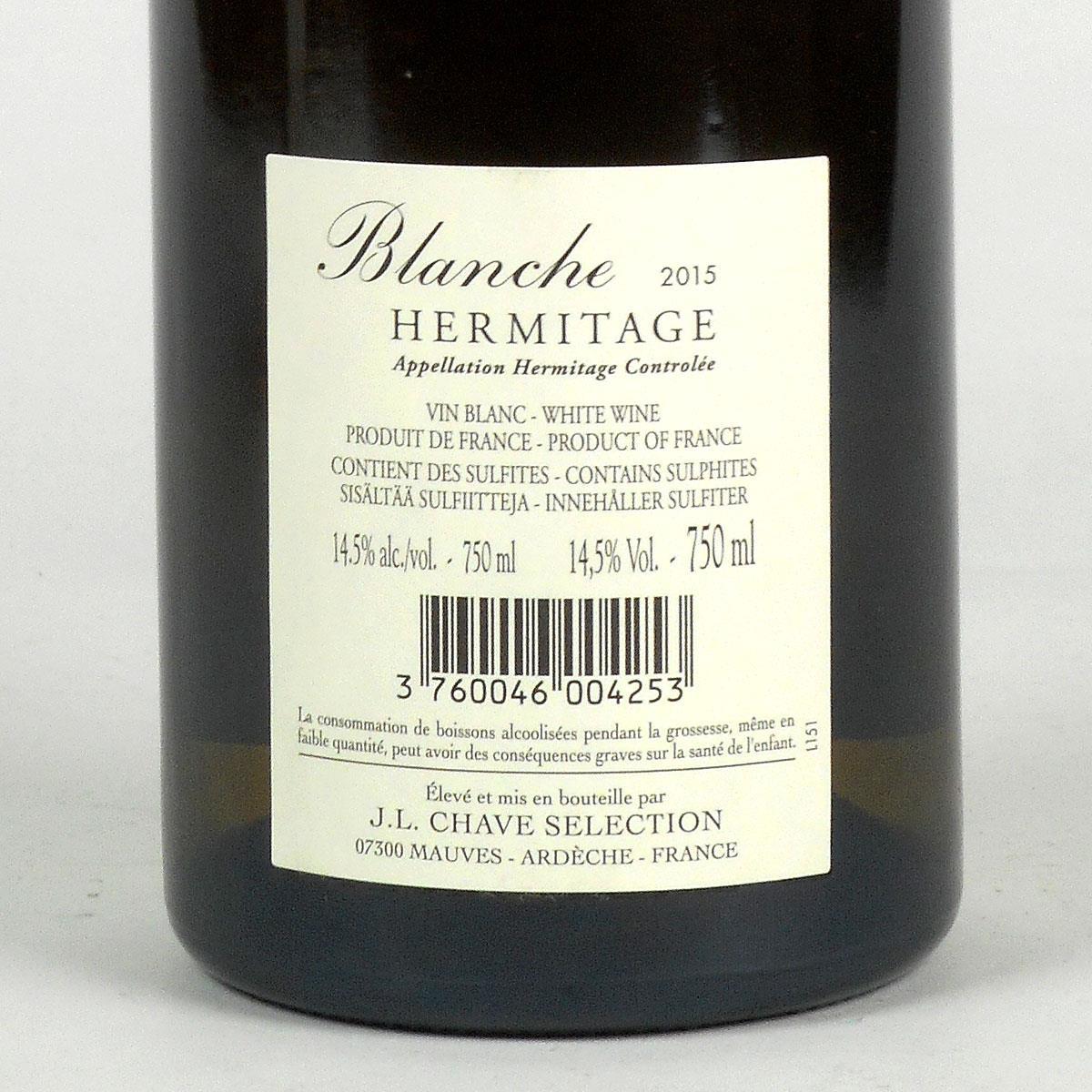 Hermitage: Jean-Louis Chave Sélection 'Blanche' 2015 - Bottle Rear Label