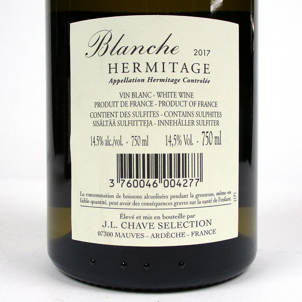 Hermitage: Jean-Louis Chave Sélection 'Blanche' 2017 - Bottle Rear Label