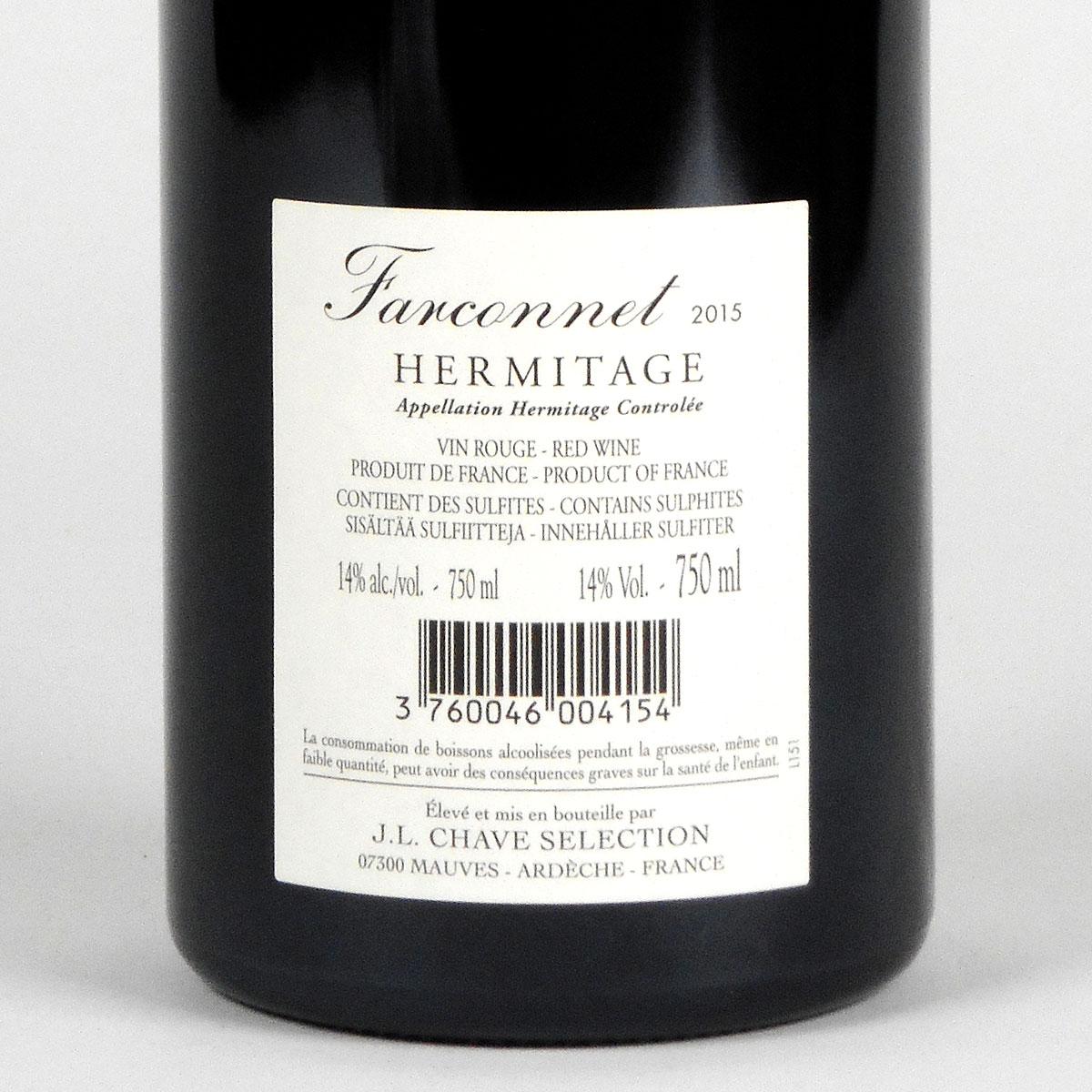 Hermitage: Jean-Louis Chave Sélection 'Farconnet' Rouge 2015 - Rear Label