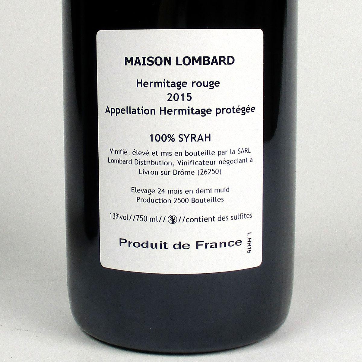 Hermitage: Maison Lombard 2015 - Bottle Rear Label