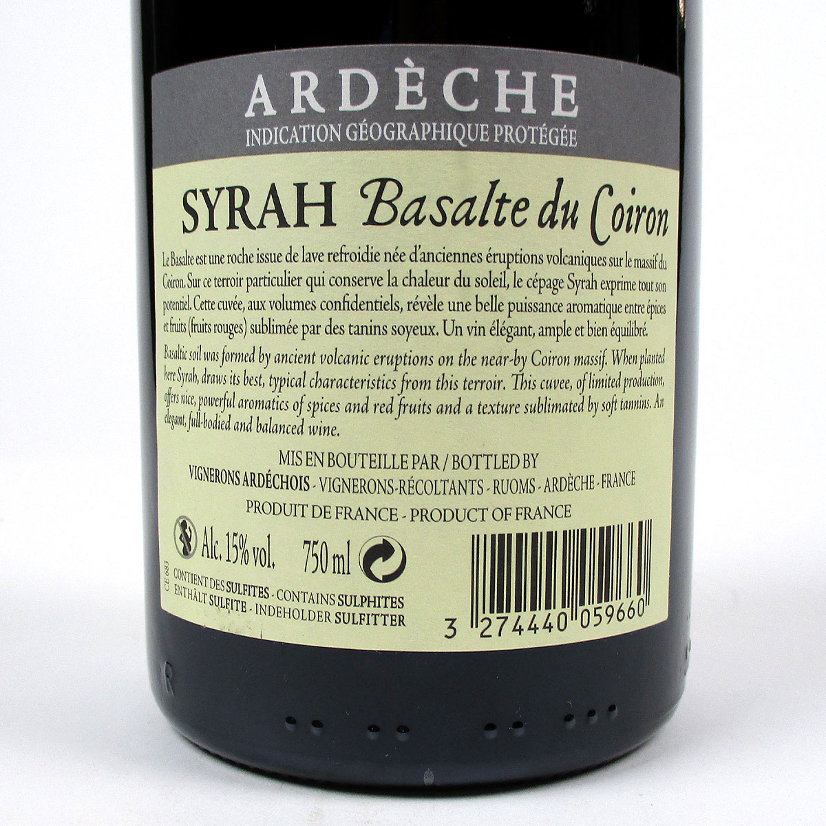 IGP Ardèche: Vignerons Ardéchois Syrah 'Basalte du Coiron' 2019 - Bottle Rear Label