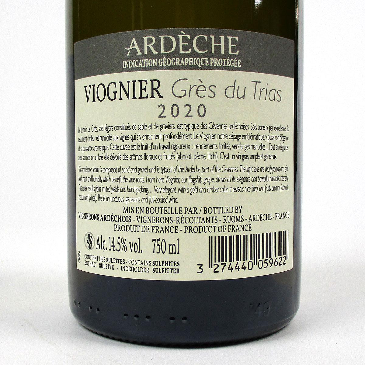 IGP Ardèche: Vignerons Ardéchois Viognier 'Grès du Trias' 2020 - Bottle Rear Label
