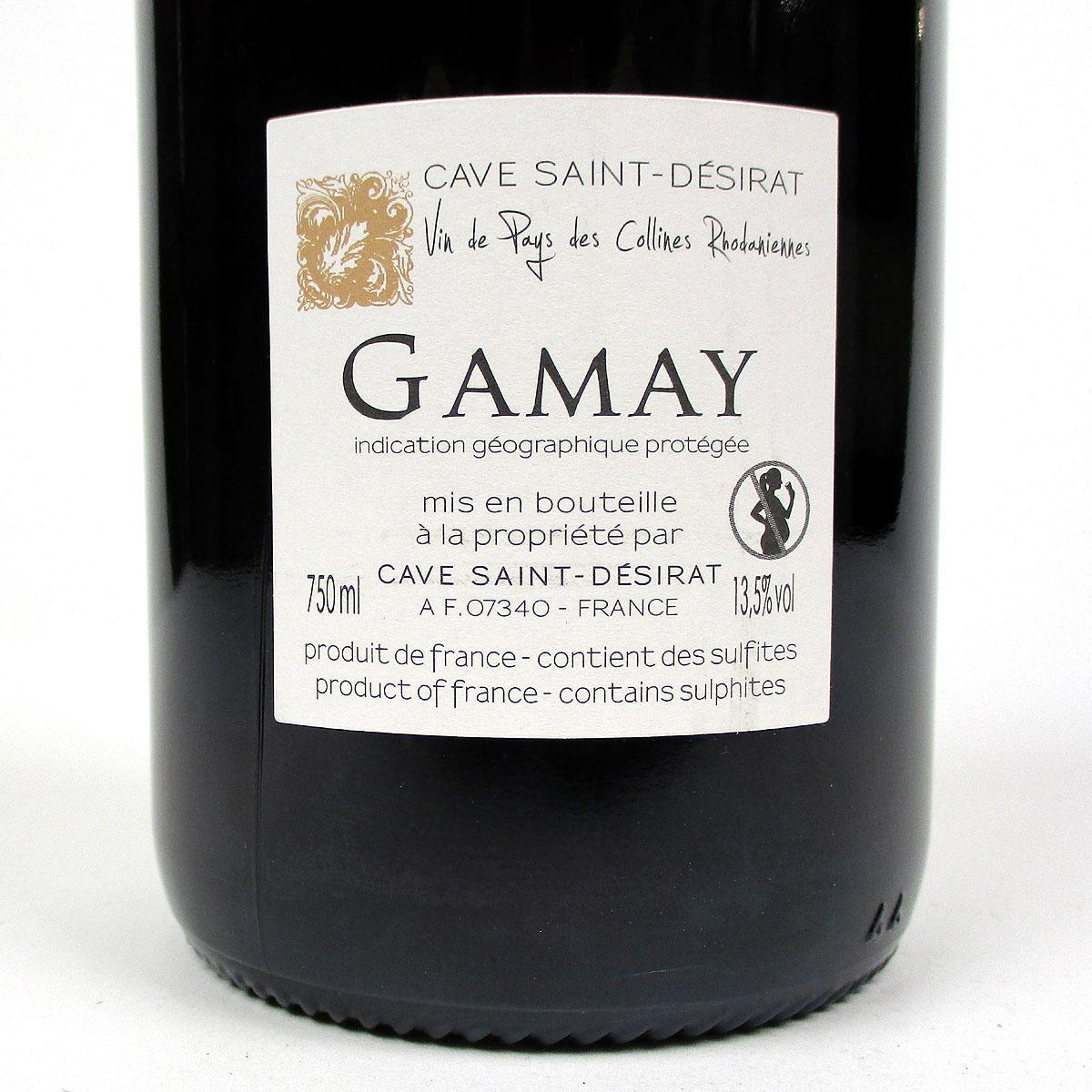IGP Collines Rhodaniennes: Cave Saint-Désirat Gamay 2019 - Bottle Rear Label
