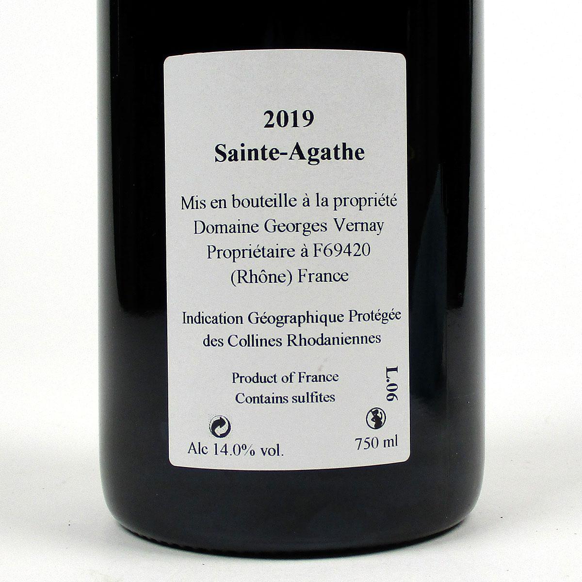 IGP Collines Rhodaniennes: Domaine Georges Vernay 'Sainte-Agathe' 2019 - Bottle Rear Label