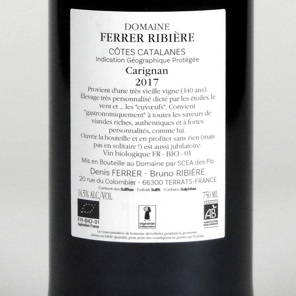 IGP Côtes Catalanes: Domaine Ferrer-Ribière 'Empreinte du Temps' Carignan 2017 - WIne Bottle Rear Label