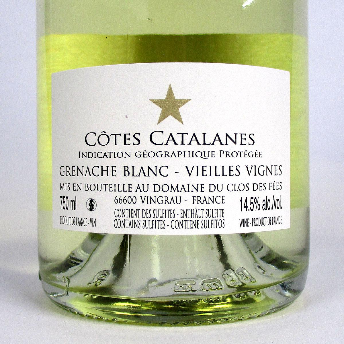 IGP Côtes Catalanes: 'Vieilles Vignes' Domaine du Clos des Fées Grenache Blanc 2018 - Bottle Rear Label