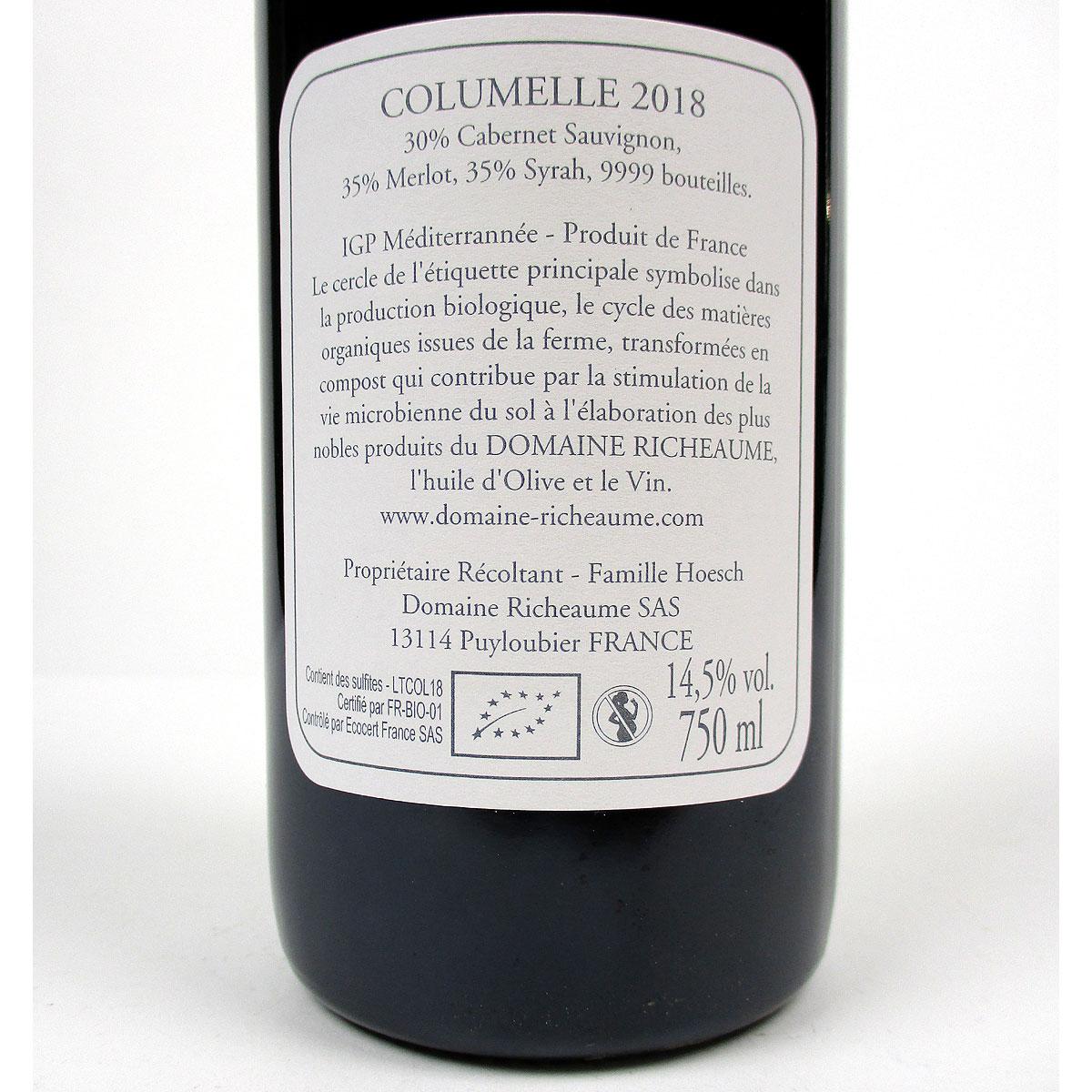 IGP Méditerranée: Domaine Richeaume 'Cuvée Columelle' 2018 - Bottle Rear Label