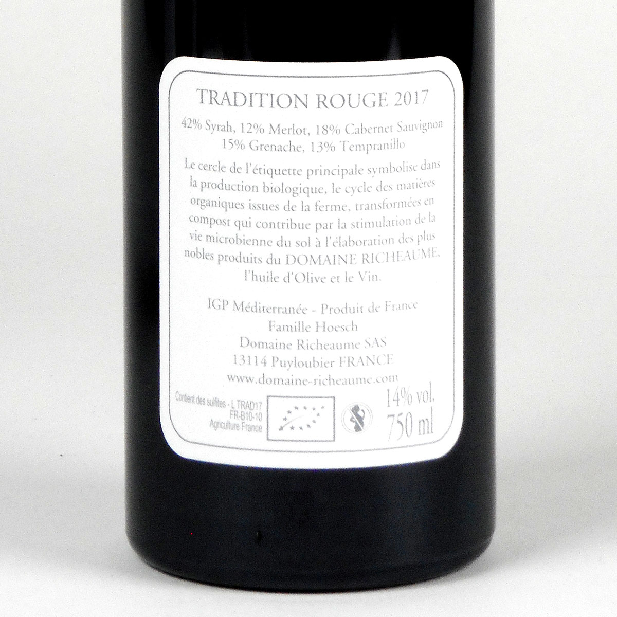 IGP Méditerranée: Domaine Richeaume 'Cuvée Tradition' 2017 - Rear Label
