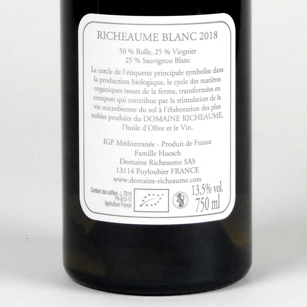IGP Méditerranée: Domaine Richeaume 'Tradition' Blanc 2018 - Bottle Rear
