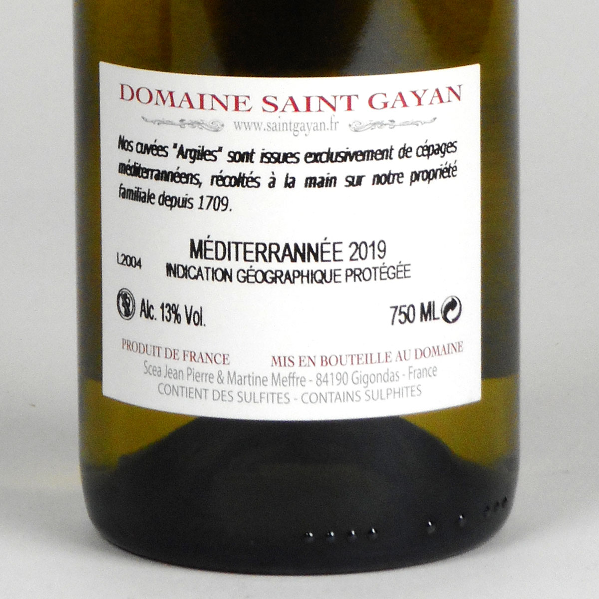 IGP Méditerranée: Domaine Saint Gayan 'Argiles' Blanc 2019 - Bottle Rear Label