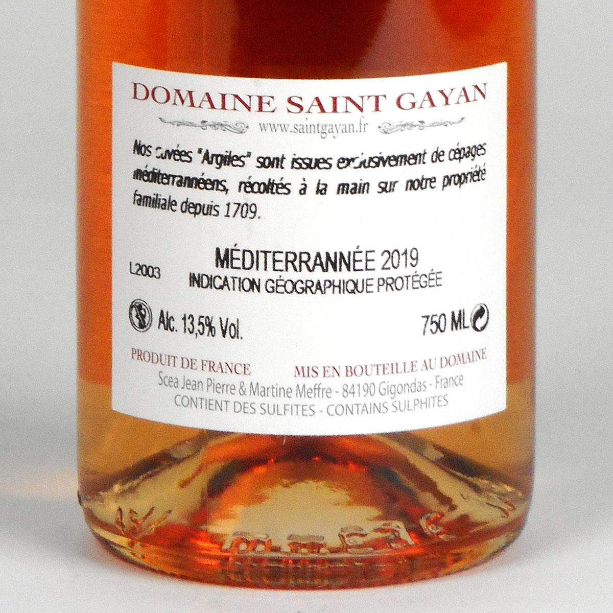 IGP Méditerranée: Domaine Saint Gayan 'Argiles' Rosé 2019 - Bottle Rear Label