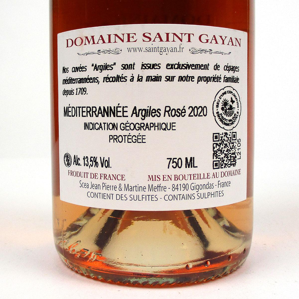 IGP Méditerranée: Domaine Saint Gayan 'Argiles' Rosé 2020 - Bottle Rear Label