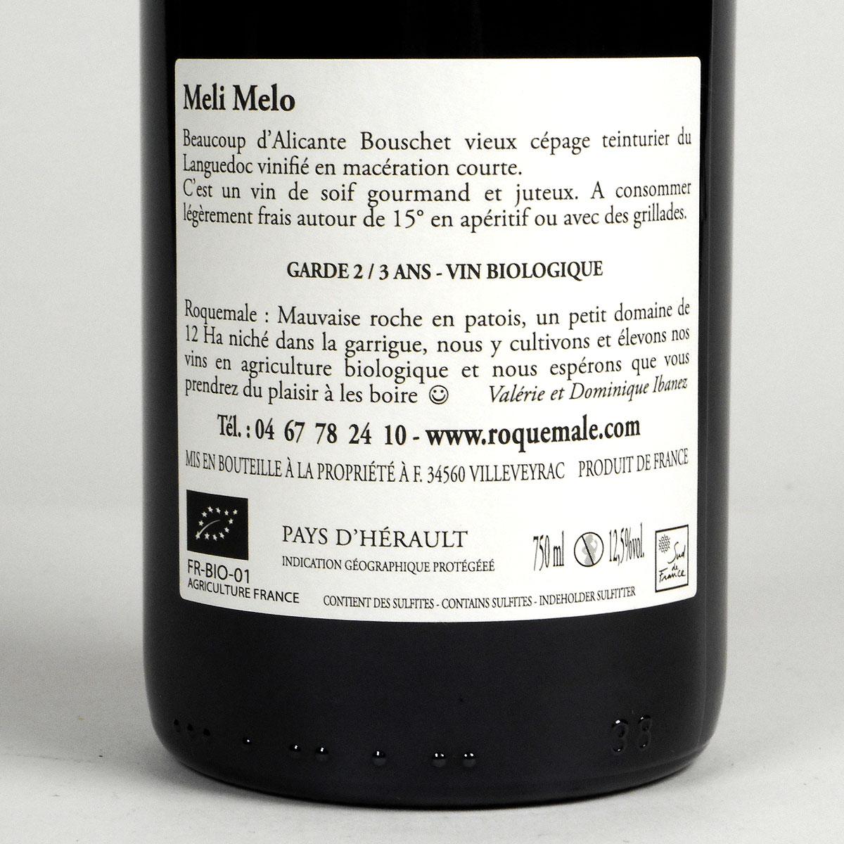 IGP Vin de Pays de l'Hérault: Domaine Roquemale 'Meli Melo' 2019 - Bottle Rear Label