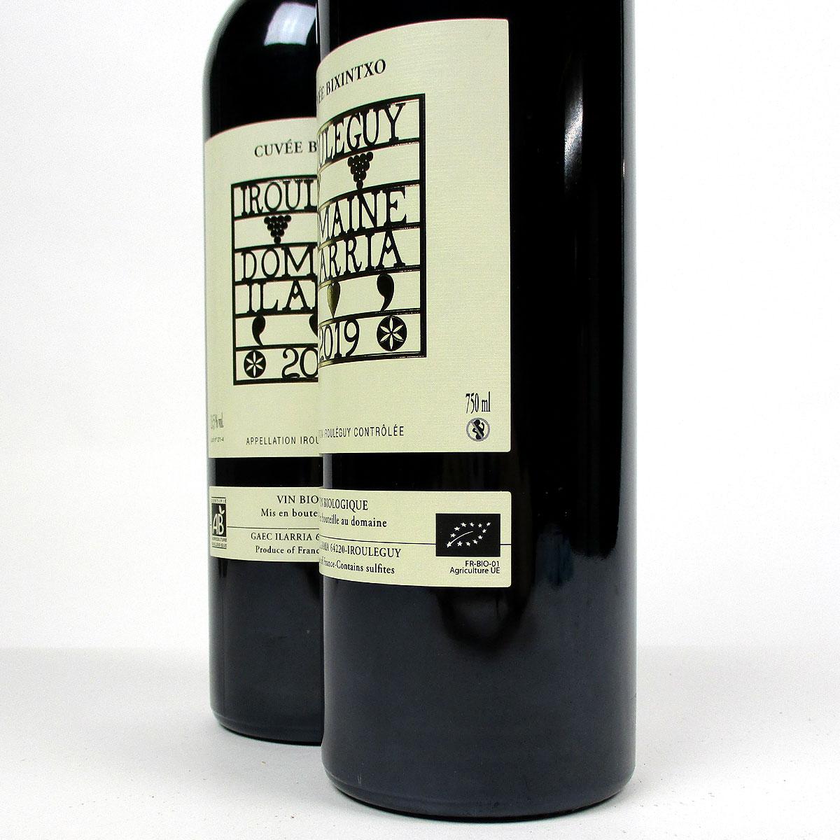 Irouléguy: Domaine Ilarria 'Cuvée Bixintxo' Rouge 2019  - Bottle Side Label Organic
