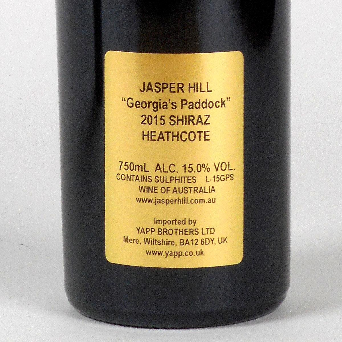 Jasper Hill: Georgia's Paddock Shiraz 2015 - Bottle Rear Label