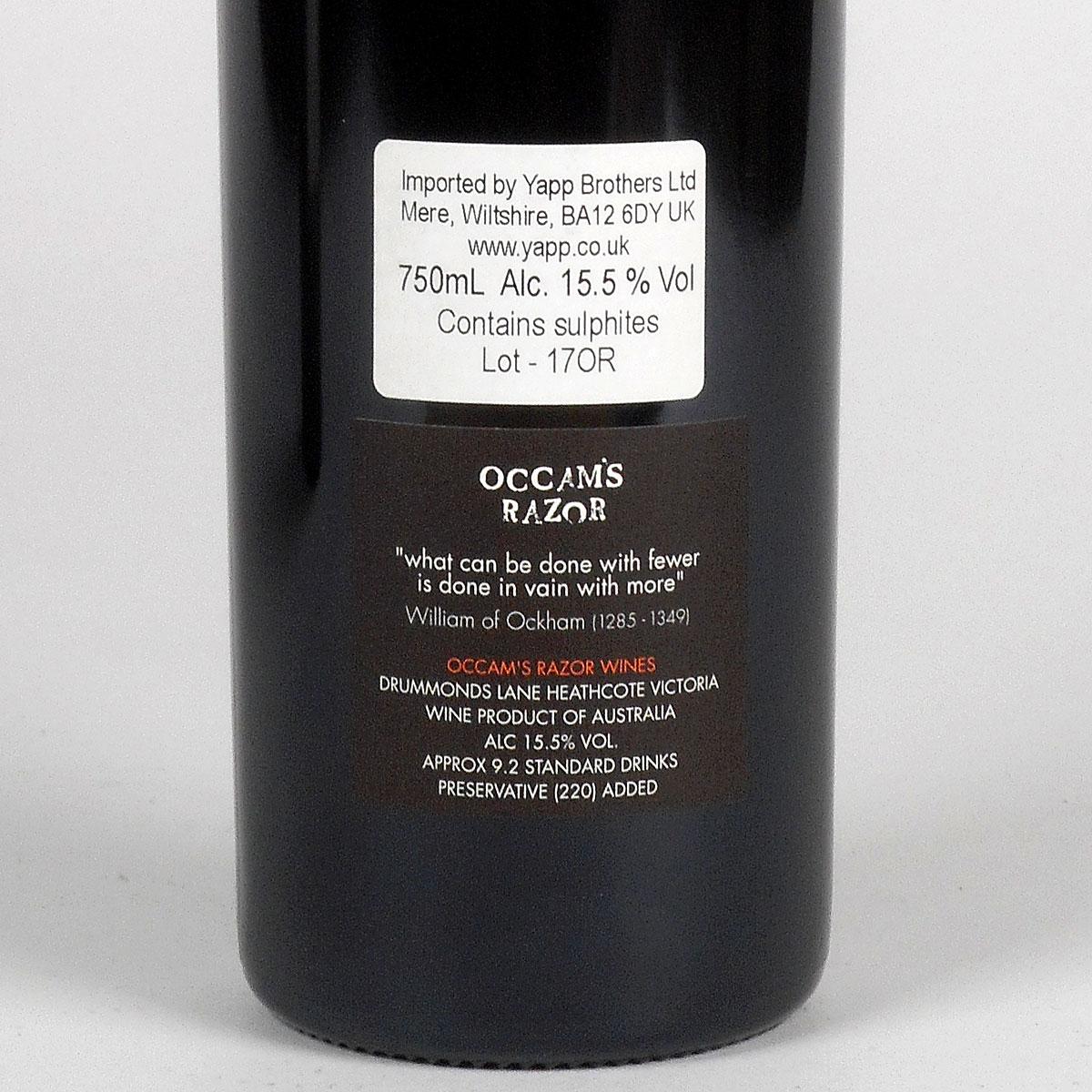 Jasper Hill: Occam's Razor Shiraz 2017  - Bottle Rear Label