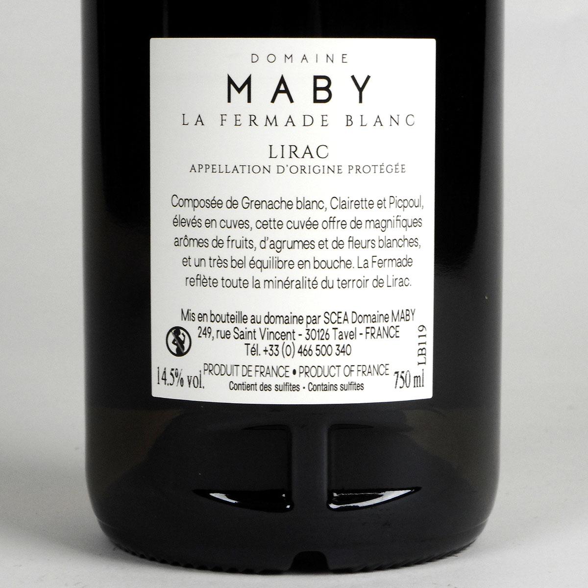 Lirac: Domaine Maby 'La Fermade' Blanc 2019 - Bottle Rear Label