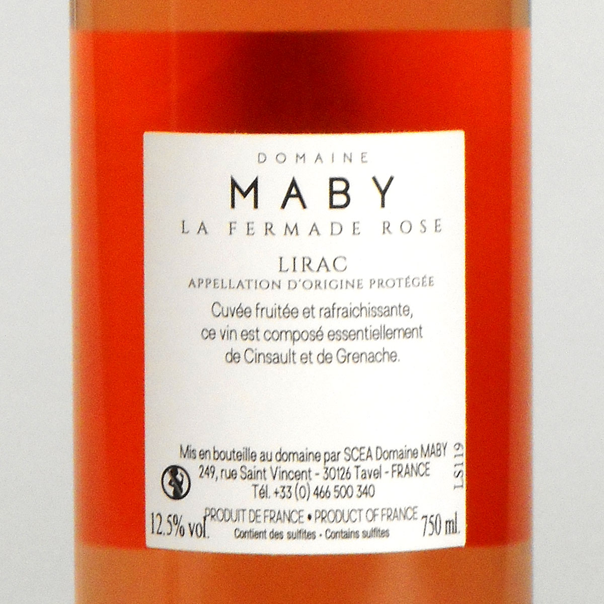 Lirac: Domaine Maby 'La Fermade' Rosé 2019 - Bottle Rear Label
