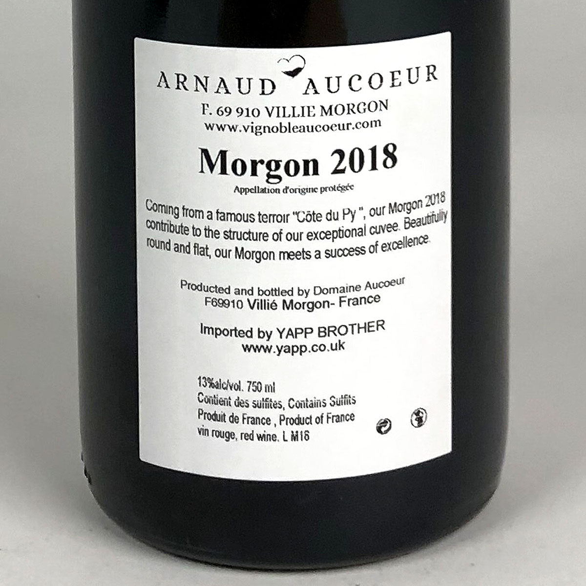 Morgon: Arnaud Aucoeur 'Côte du Py' 2018 - Bottle Rear Label