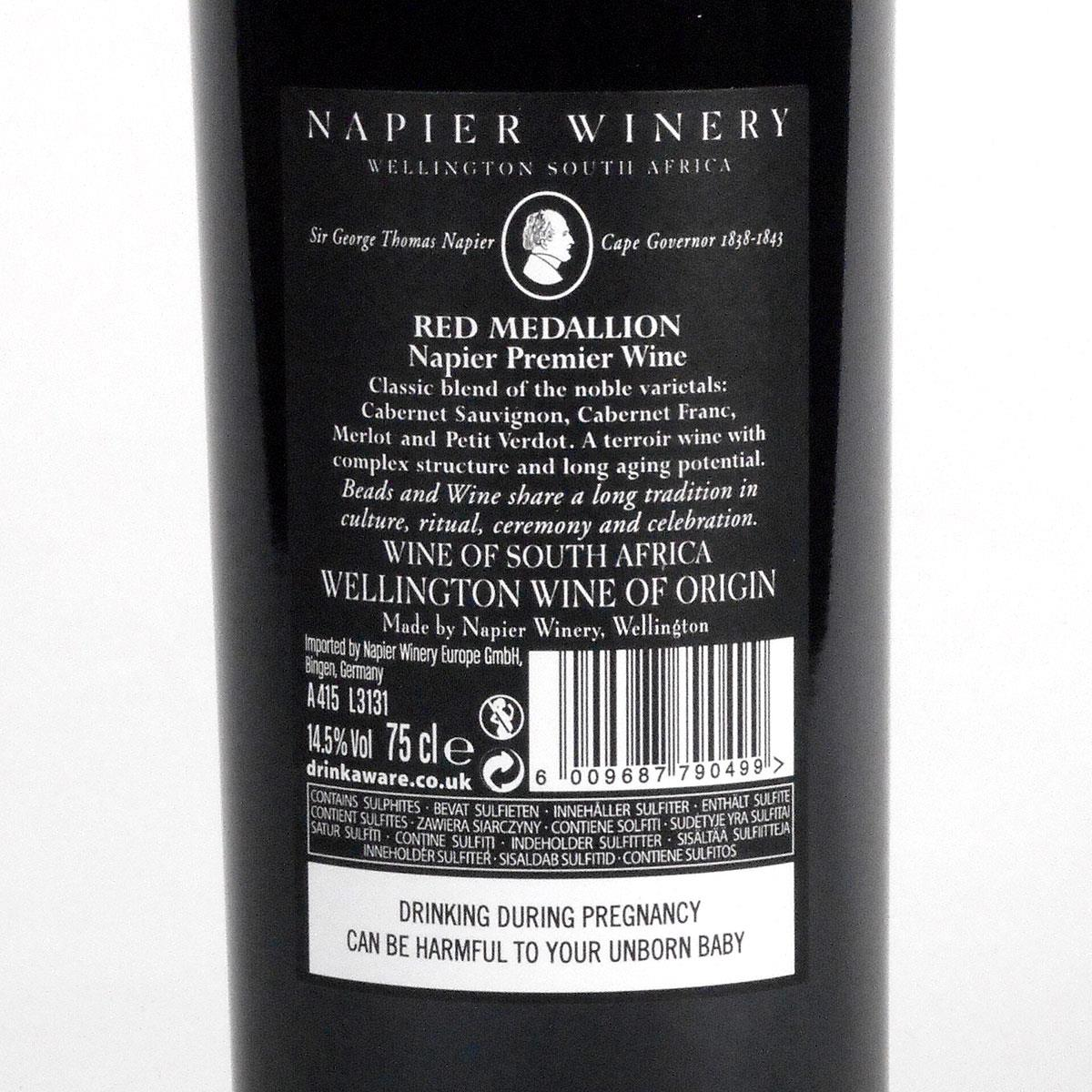 Napier Winery: 'Red Medallion' 2013 - Bottle Rear Label