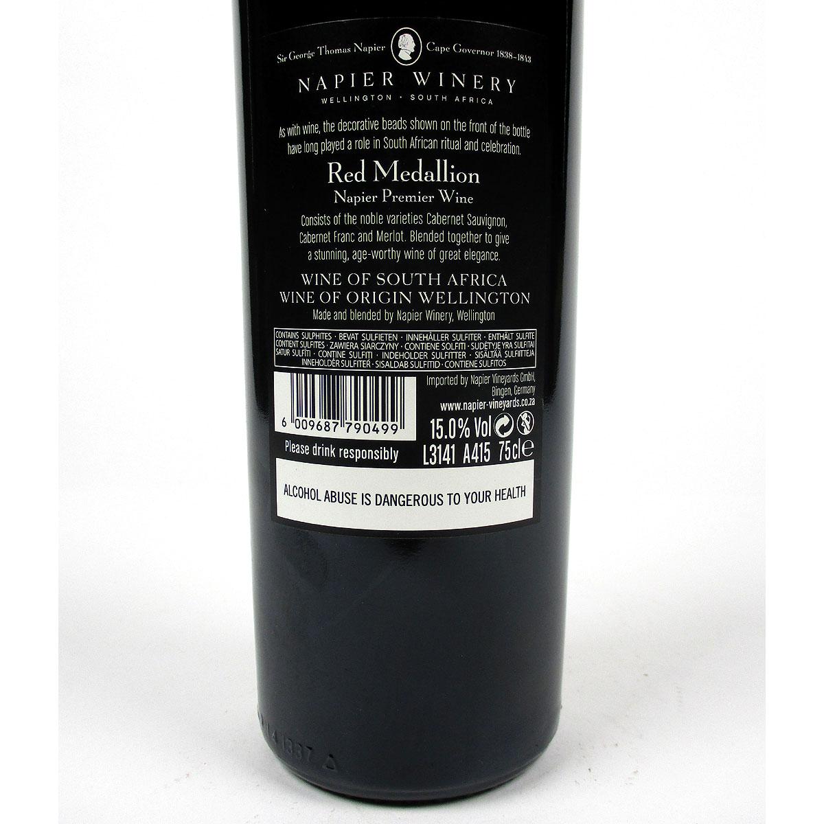 Napier Winery: 'Red Medallion' 2014 - Bottle Rear Label
