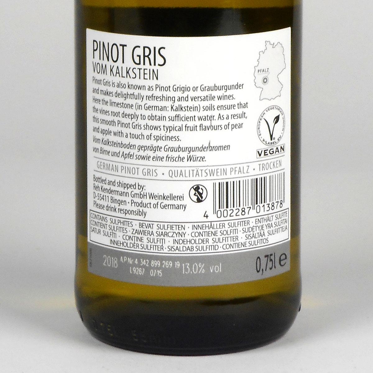 Pfalz: Pinot Gris vom Kalkstein 2018 - rear label