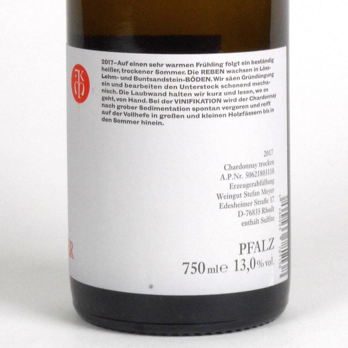 Pfalz: Stefan Meyer 'Aus Rhodt' Chardonnay 2017 - Bottle - Rear