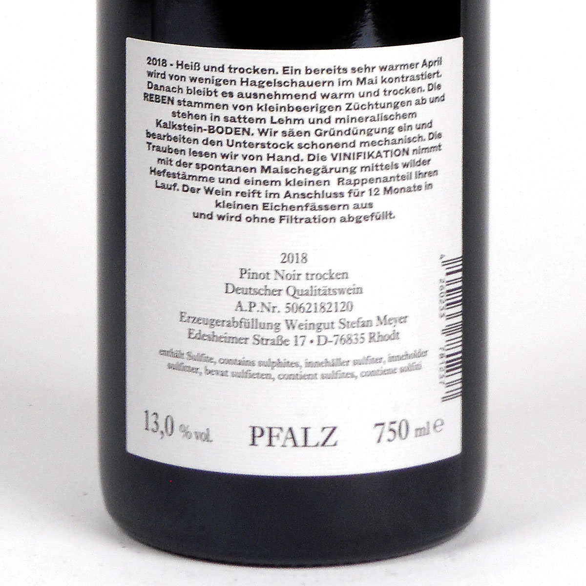 Pfalz: Stefan Meyer 'Aus Rhodt' Pinot Noir 2018 - Bottle Rear Label