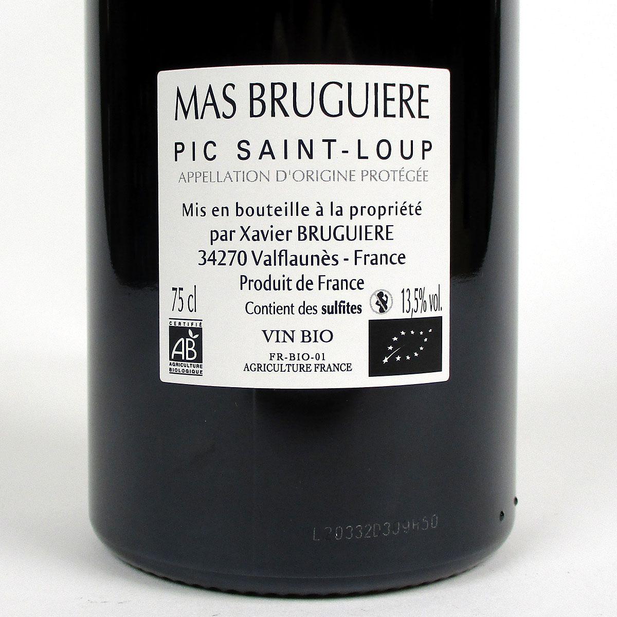 Pic Saint-Loup: Mas Bruguière 'l'Arbouse' 2019 - Bottle Rear Label
