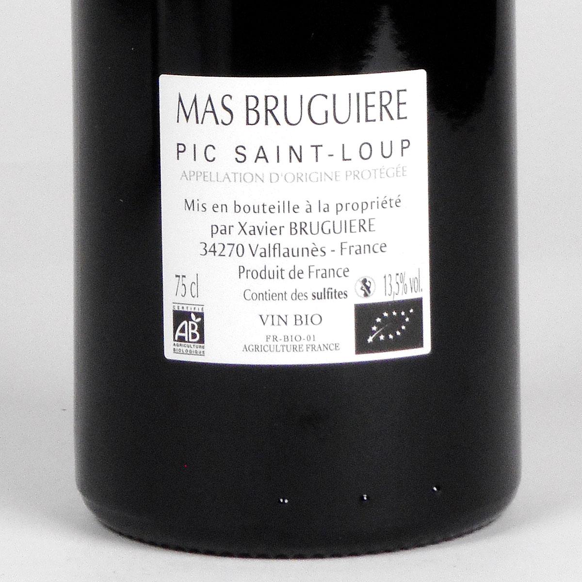 Pic Saint-Loup: Mas Bruguière 'l'Arbouse' 2018 - Wine Bottle Rear Label