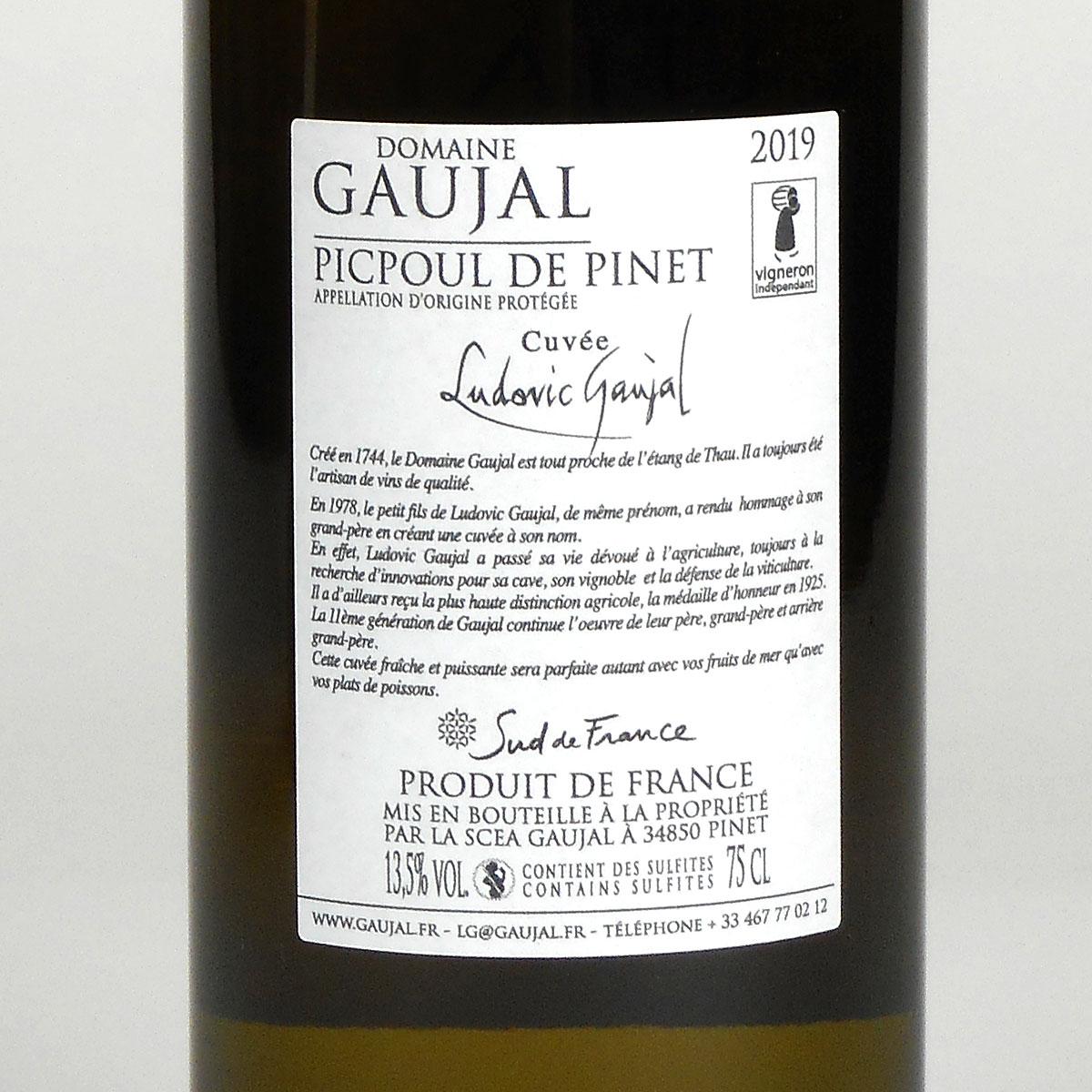 Picpoul de Pinet: Domaine Gaujal 2019 - Wine Bottle Rear Label