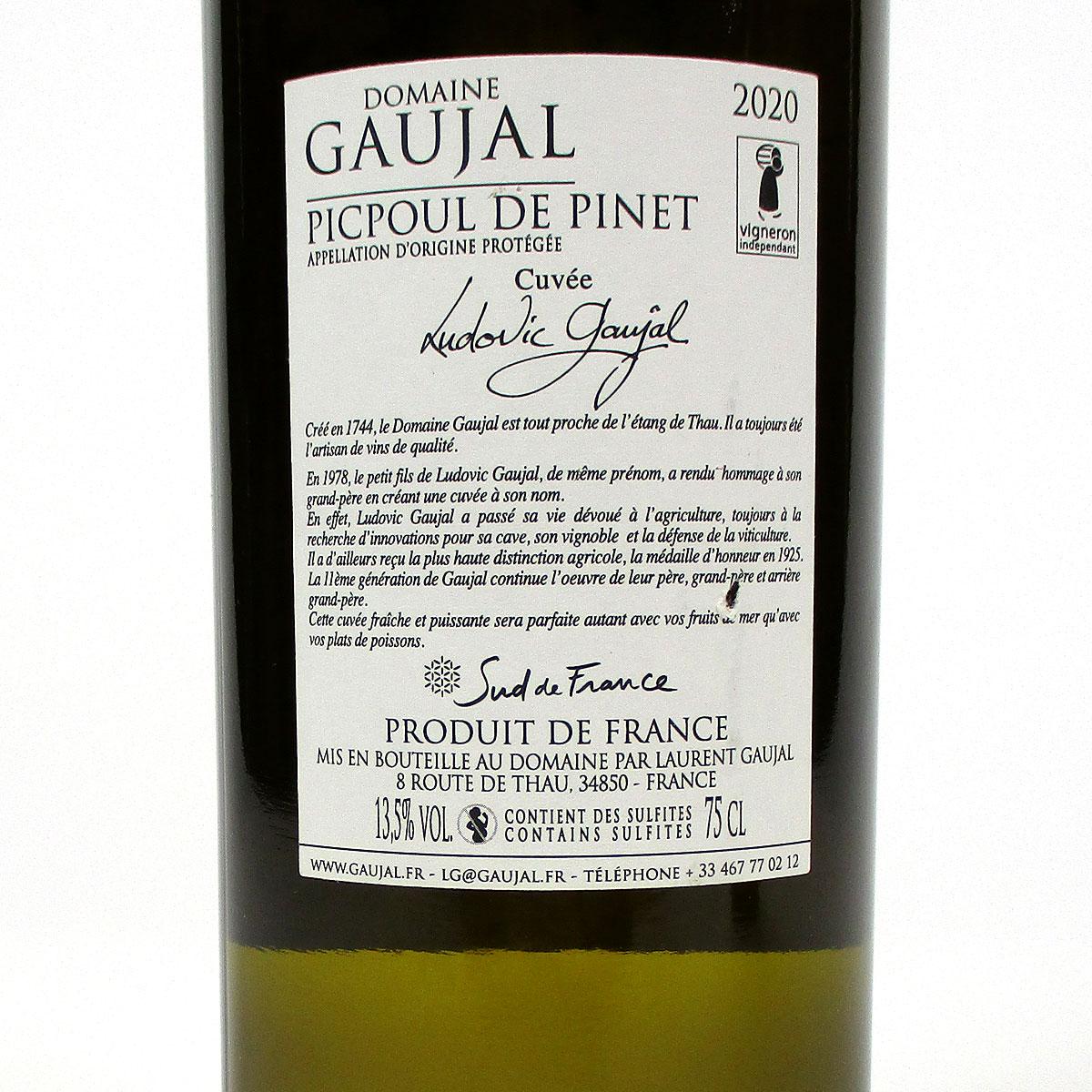 Picpoul de Pinet: Domaine Gaujal 2020 - Bottle Rear Label