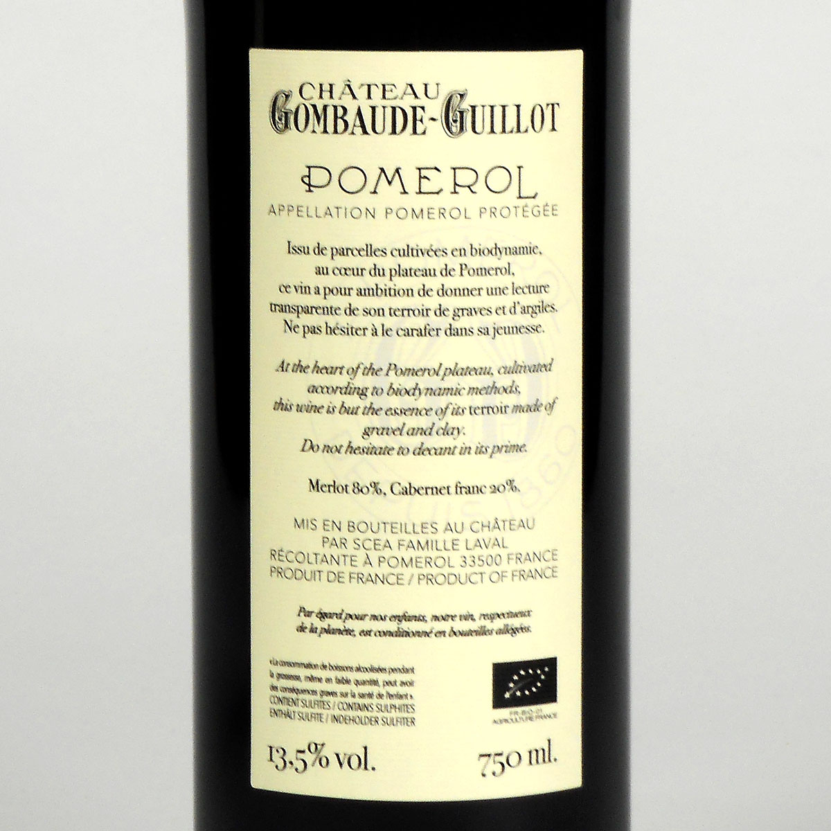 Pomerol: Château Gombaude-Guillot 2014 - Bottle Rear Label