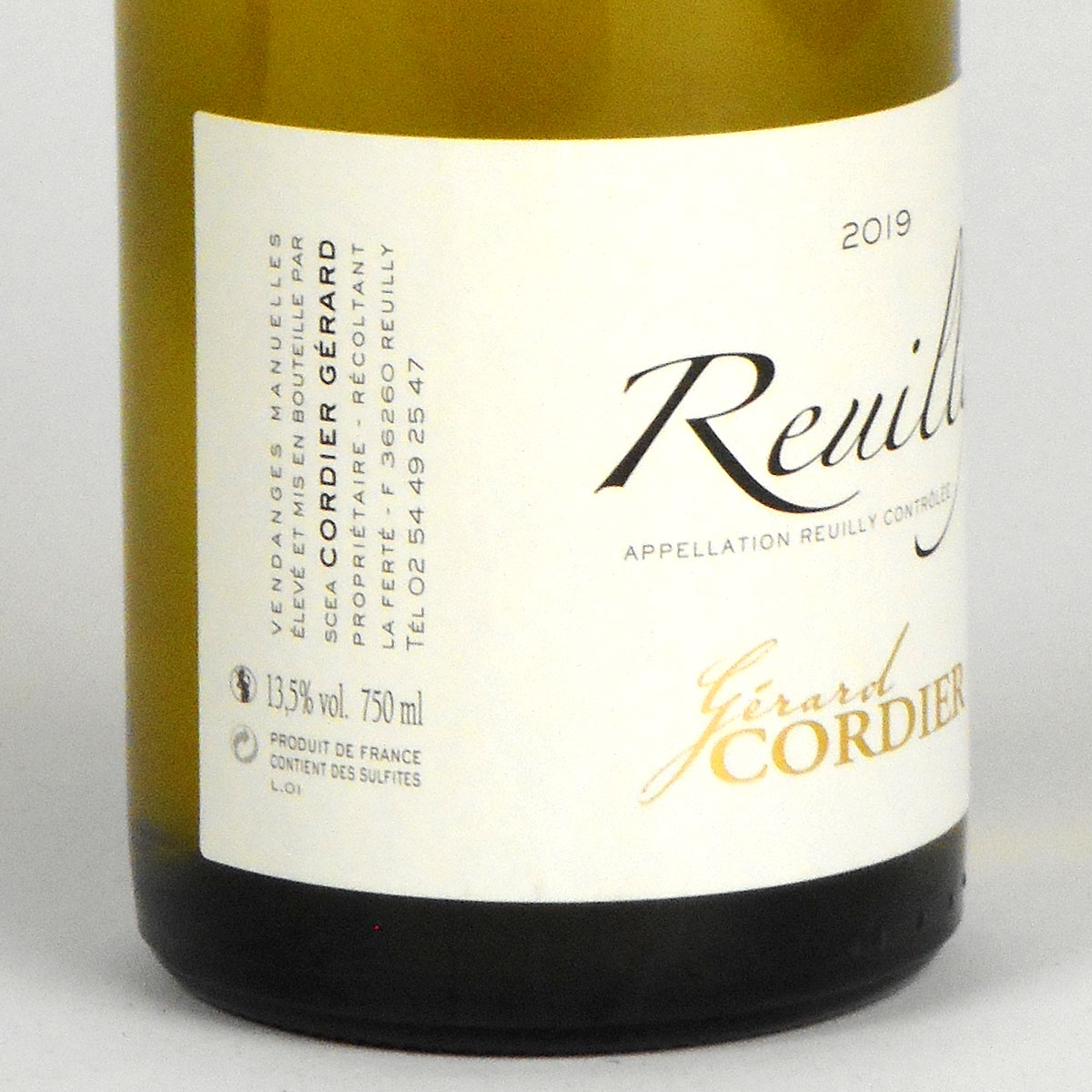 Reuilly: Gerard Cordier Blanc 2019 - Bottle Side Label