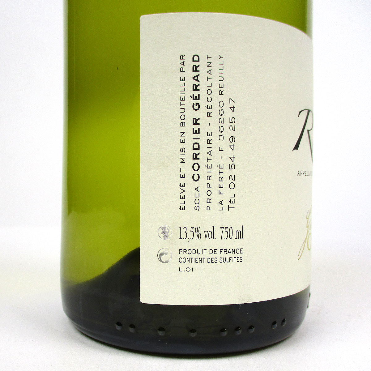 Reuilly: Gerard Cordier Blanc 2020 - Bottle Side Label