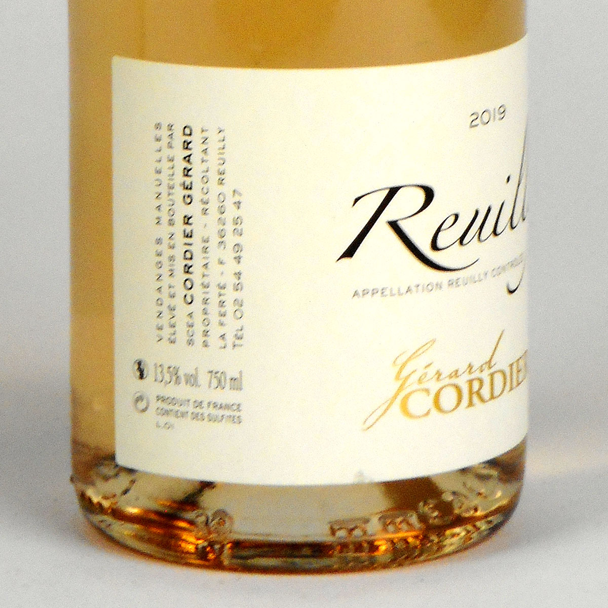 Reuilly: Gerard Cordier Pinot Gris 2019 - Bottle Side Label