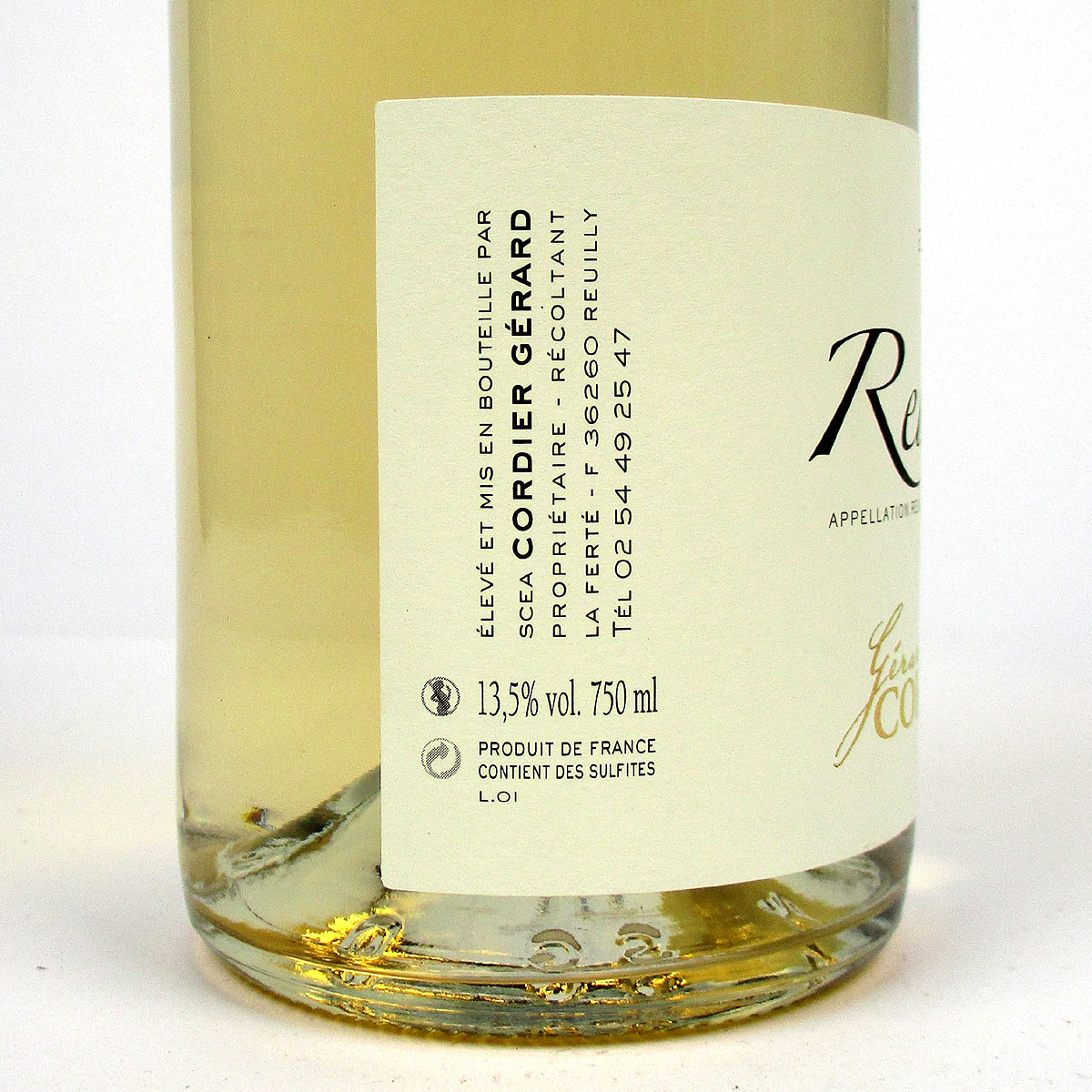 Reuilly: Gerard Cordier Pinot Gris 2020 - Bottle Side Label