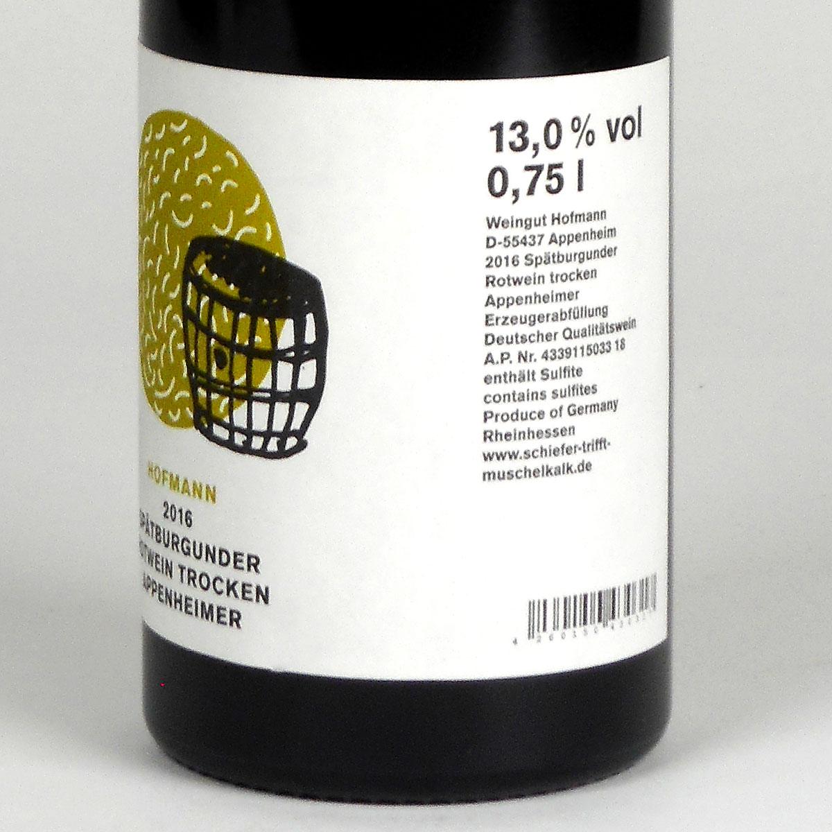 Rheinhessen: Jürgen Hofmann Appenheimer Spätburgunder 2016 - Bottle Rear Label