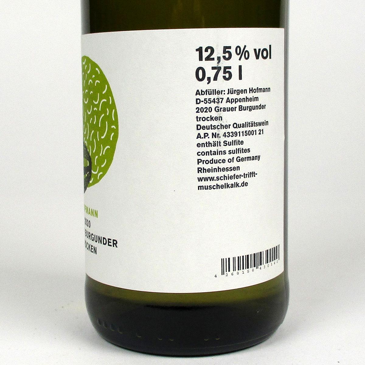 Rheinhessen: Jürgen Hofmann Grauer Burgunder Trocken 2020 - Bottle Rear Label