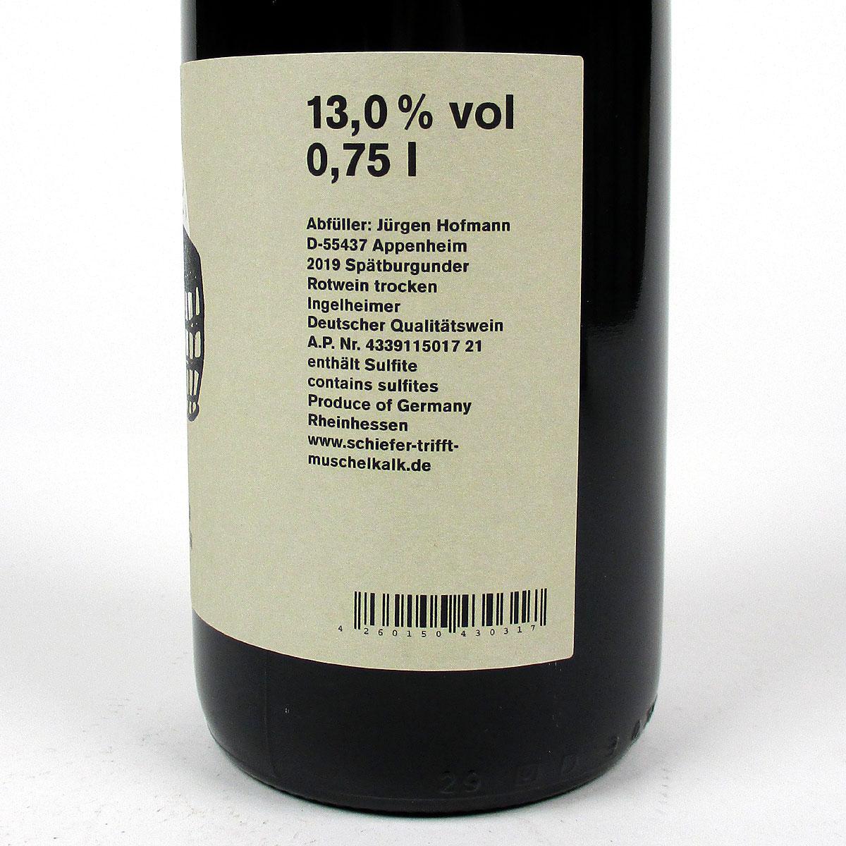 Rheinhessen: Jürgen Hofmann Ingelheimer Spätburgunder 2019 - Bottle Side Label