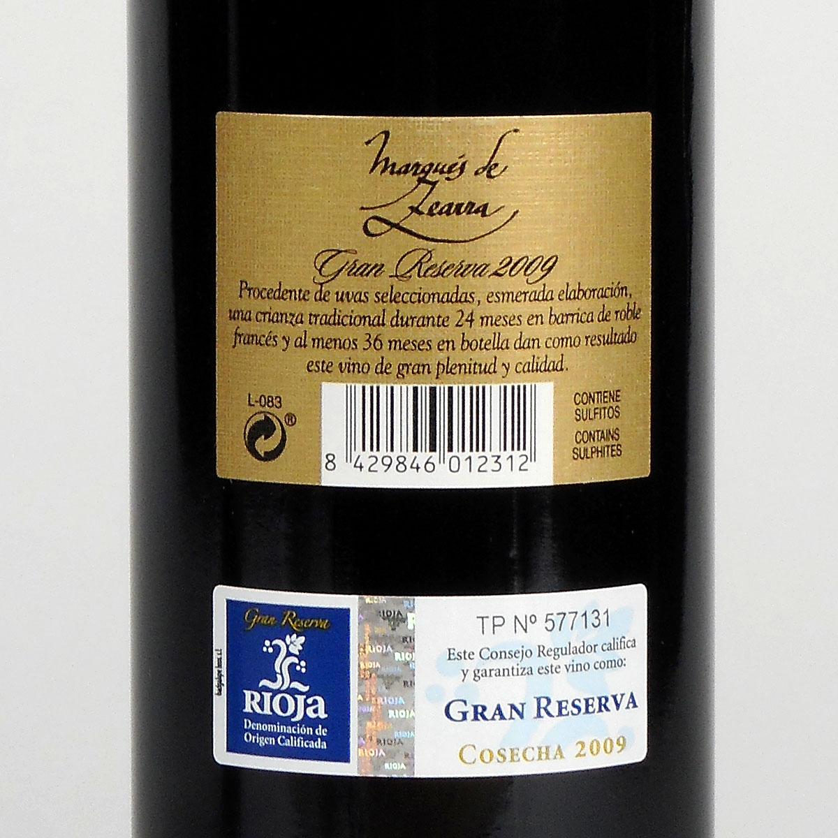 Rioja: Marqués de Zearra Gran Reserva 2009 - Bottle Rear Label