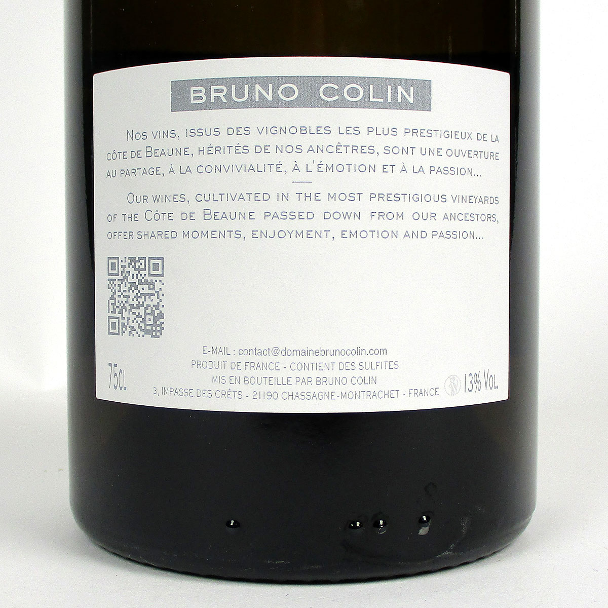 Rully: Domaine Colin 'Premier Cru' Blanc 2018 - Bottle Rear Label