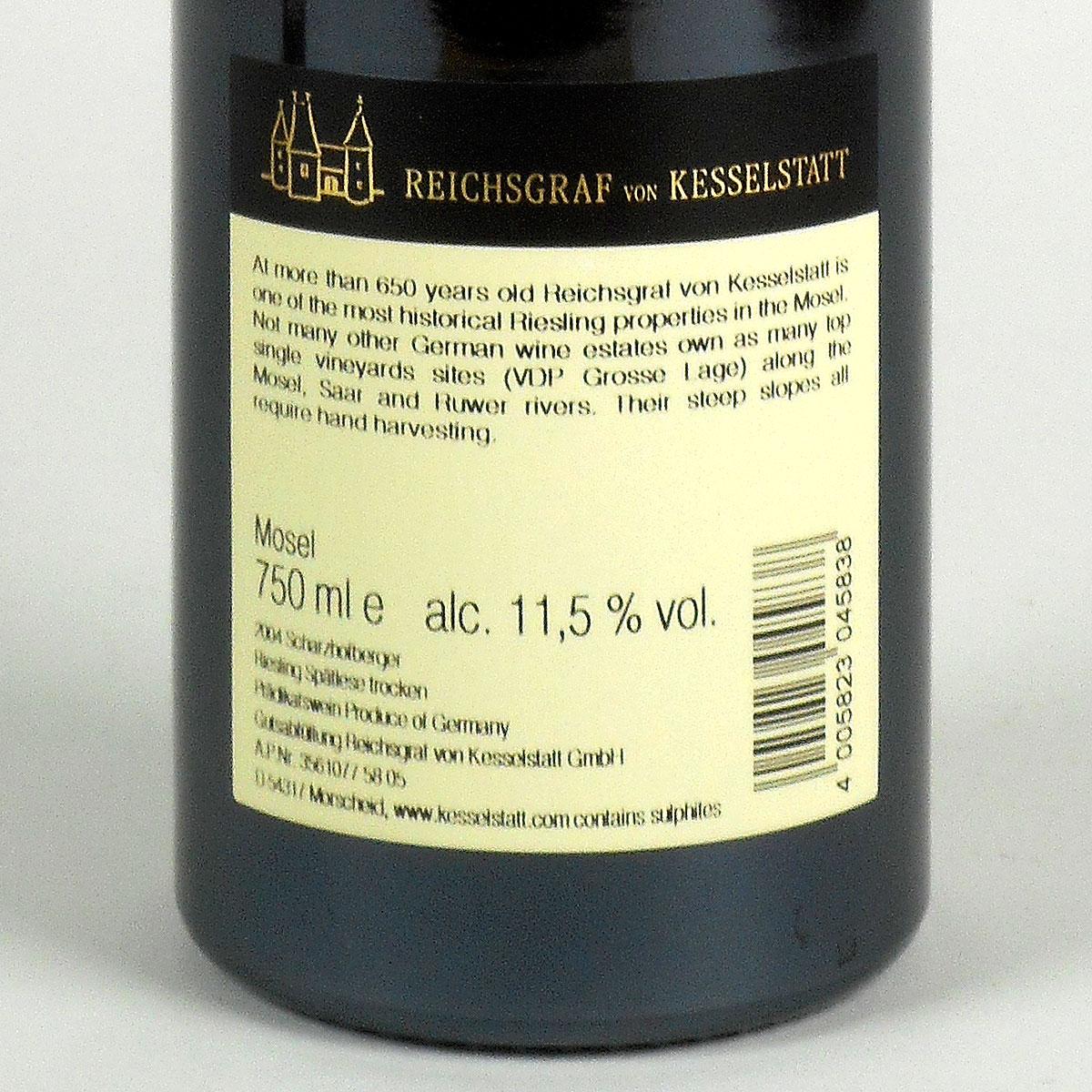 Saar: Reichsgraf von Kesselstatt Scharzhofberger Riesling Spätlese 2004 - Bottle Rear Label
