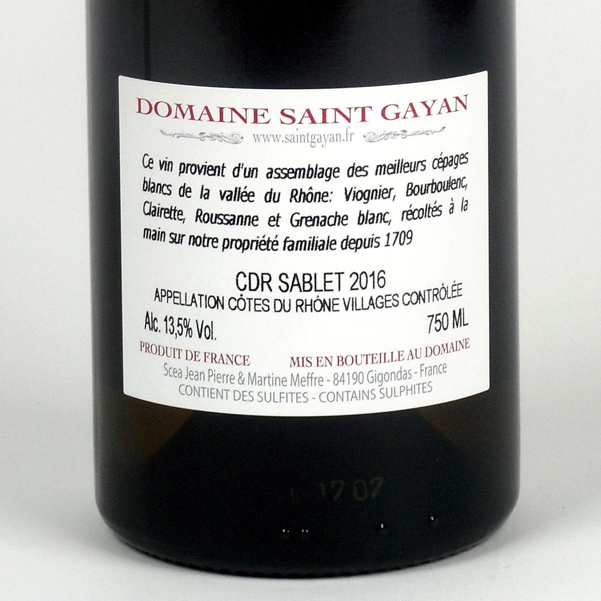 Côtes du Rhône Villages Sablet: Domaine Saint Gayan 2016 - Bottle Rear Label
