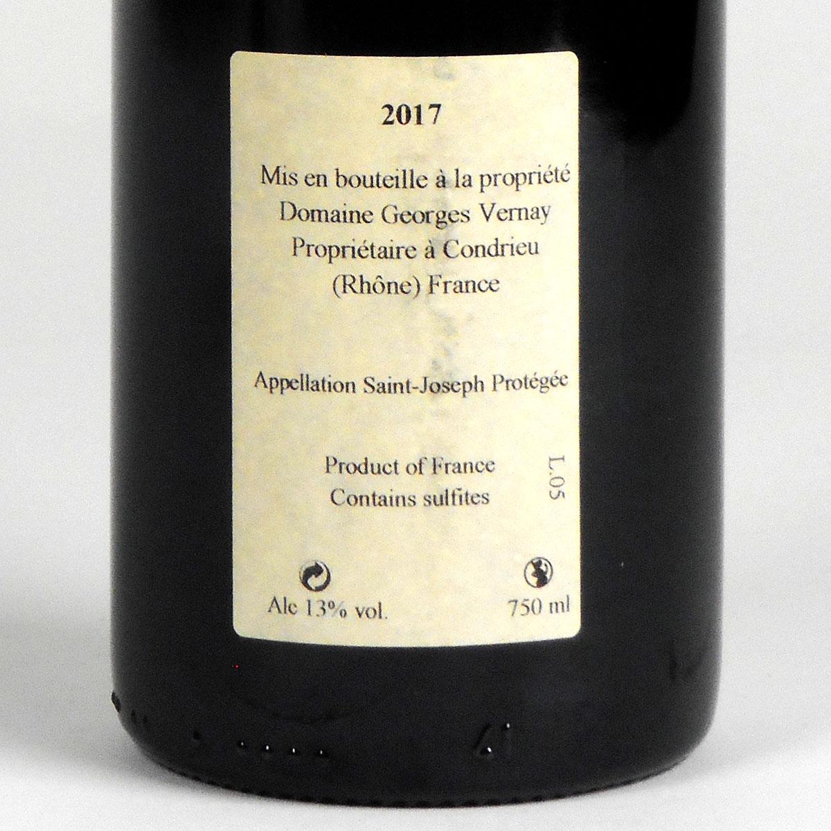 Saint-Joseph: Domaine Georges Vernay 'Terres d'Encre' 2017 - Bottle Rear Label